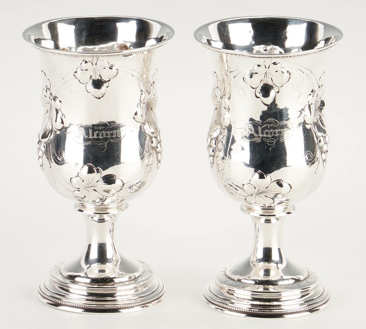 Lot 110: Mississippi Gov. Alcorn Coin Silver Pitcher & Goblets