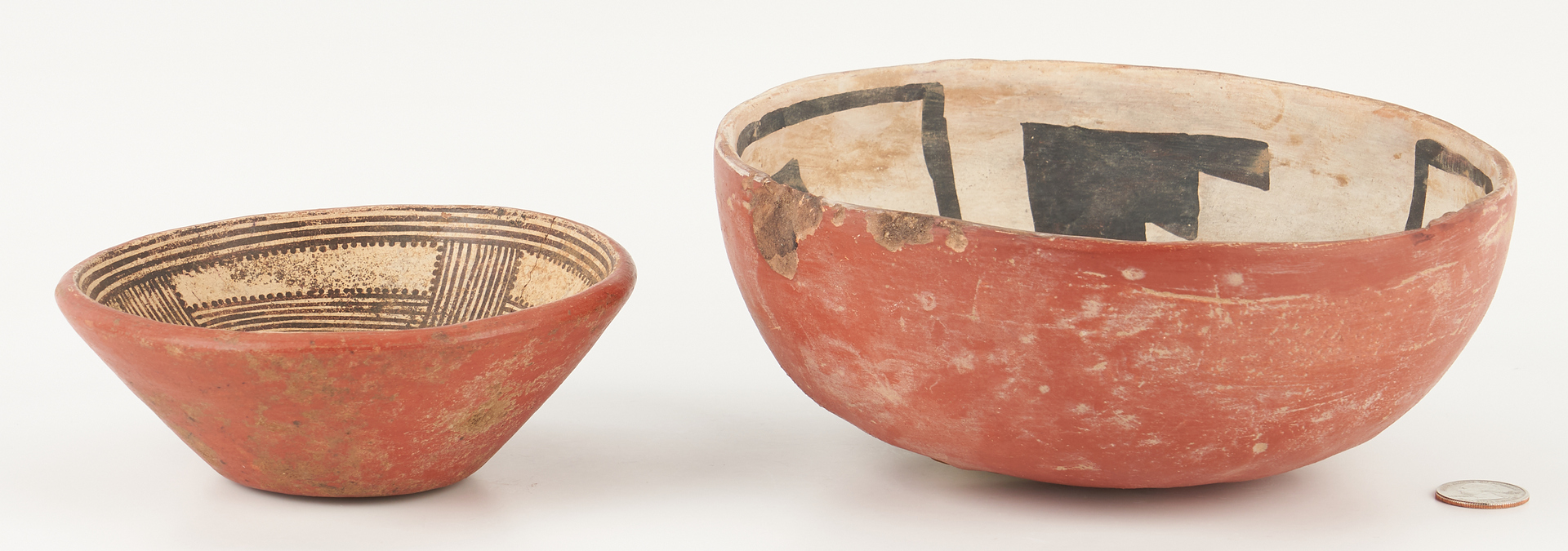 Lot 1111: 2 Native American Polychrome Pottery Bowls