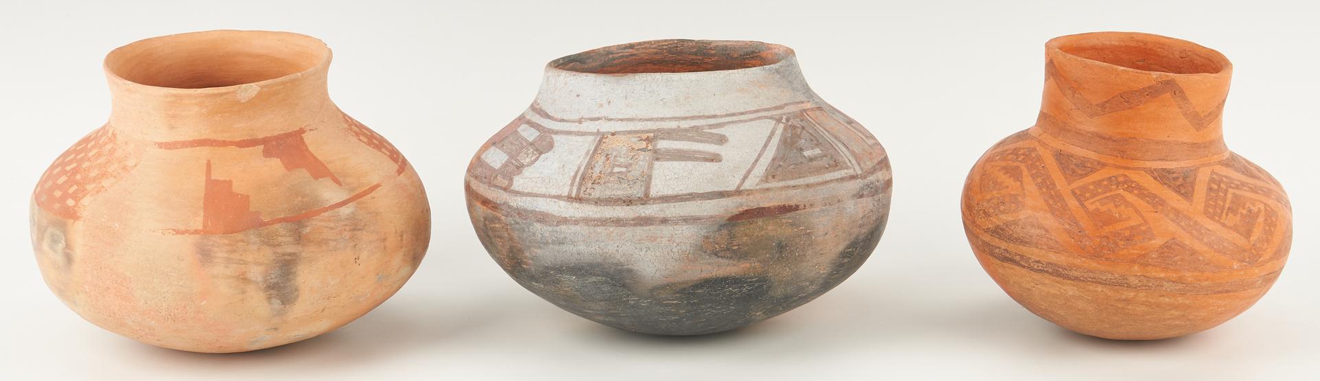 Lot 1113: 3 Native American Anasazi Pottery Ollas