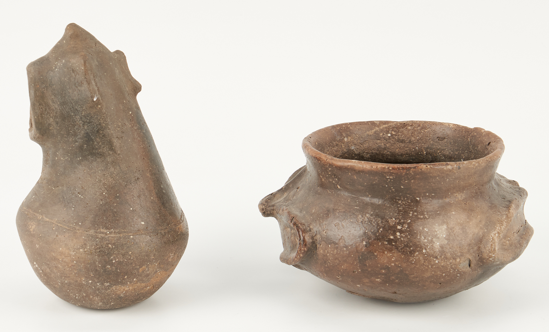 Lot 1116: 2 Mississippian Culture Caddo Effigy Pottery Items