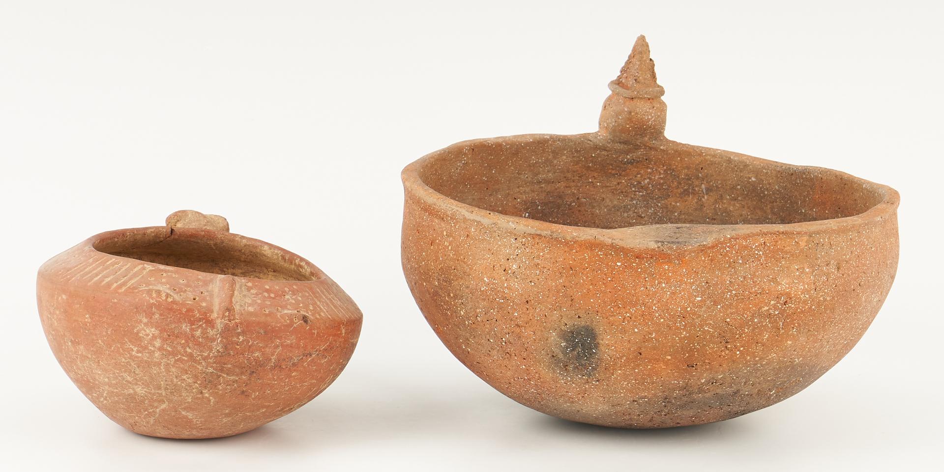 Lot 1117: 2 Effigy Rim Pottery Bowls, Corn God & Deer