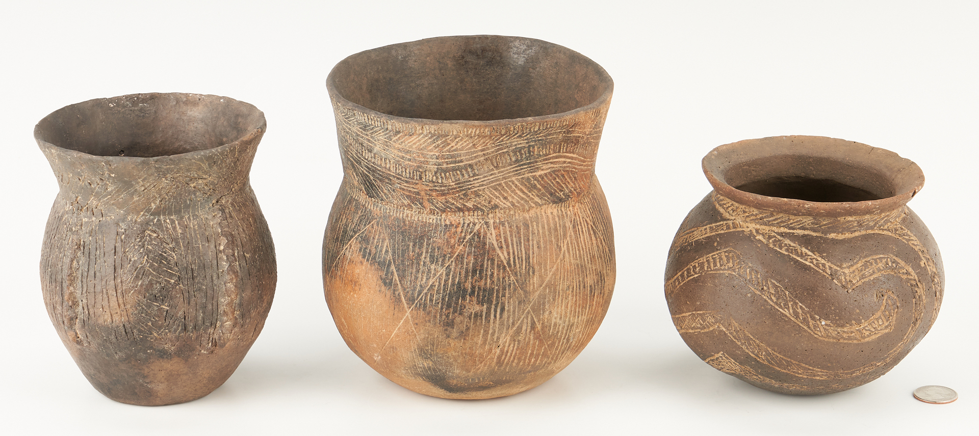 Lot 1118: 3 Mississippian Caddo Incised & Carved Jars
