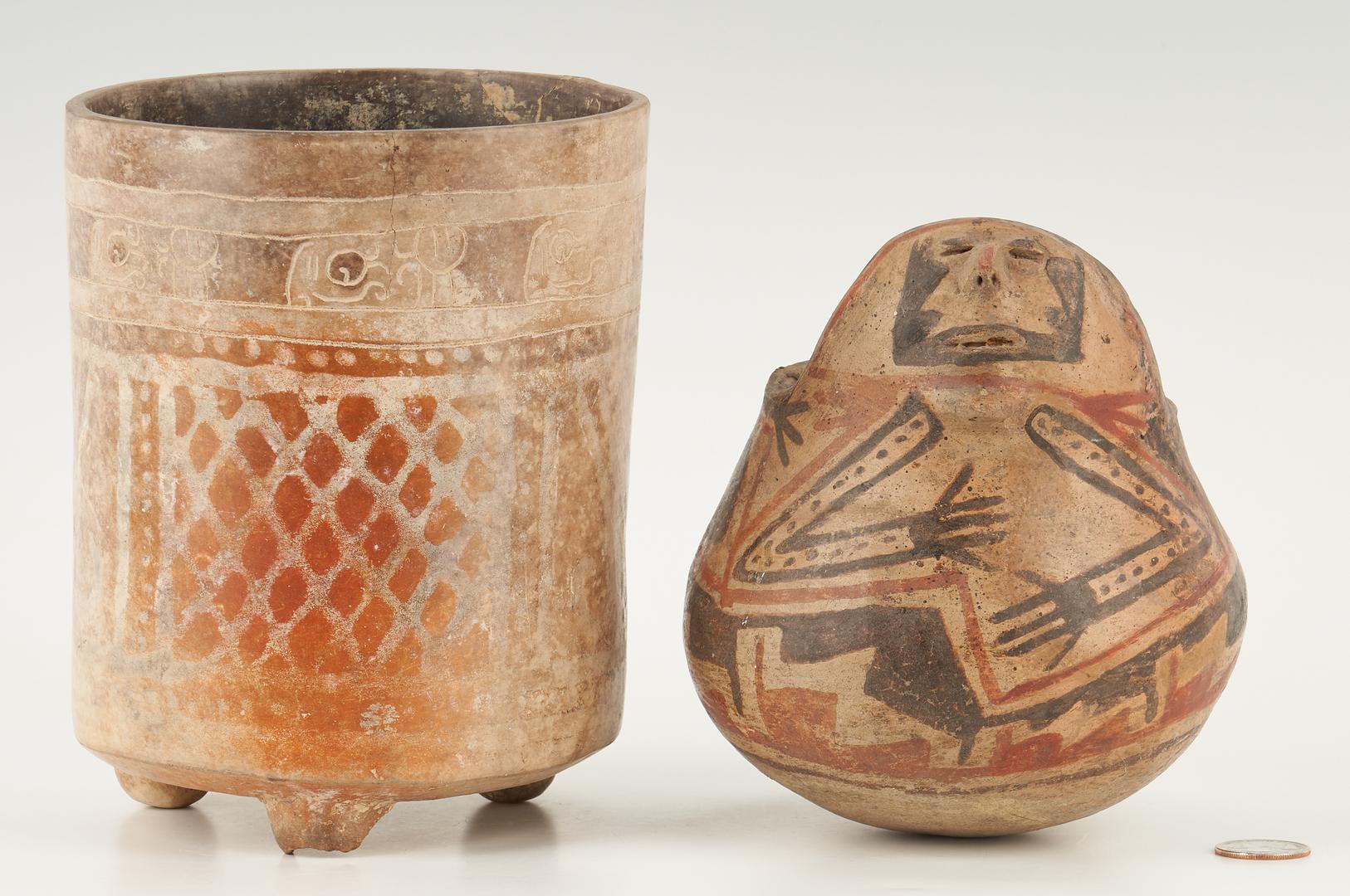 Lot 1120: Mayan Tripod Vase and Casas Grandes Human Effigy Jar, 2 items