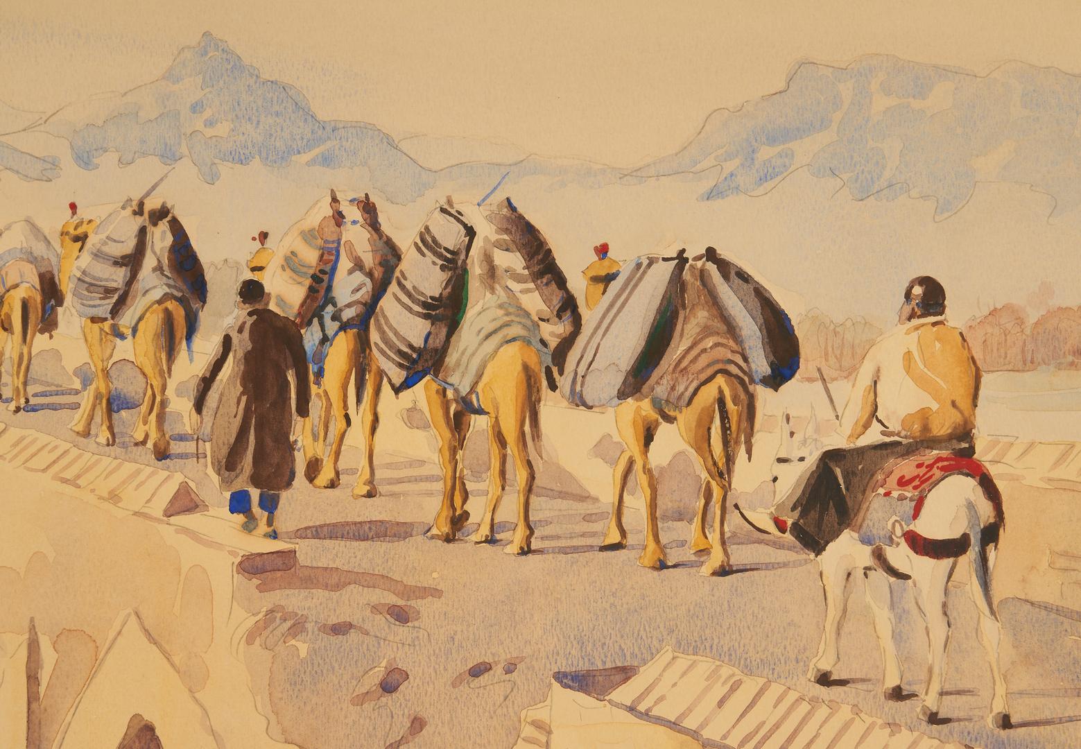 Lot 1131: Mansour Khaleghi W/C Desert Landscape, Caravan