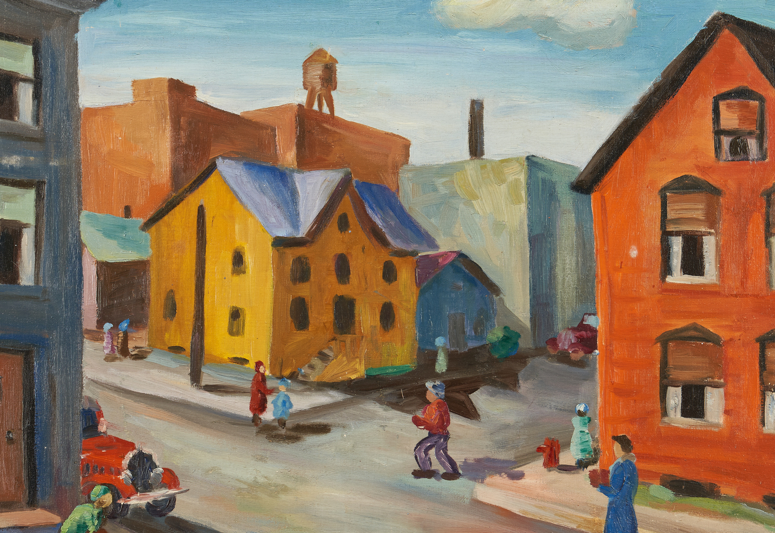Lot 1140: Midwestern School O/C Painting, City Scene