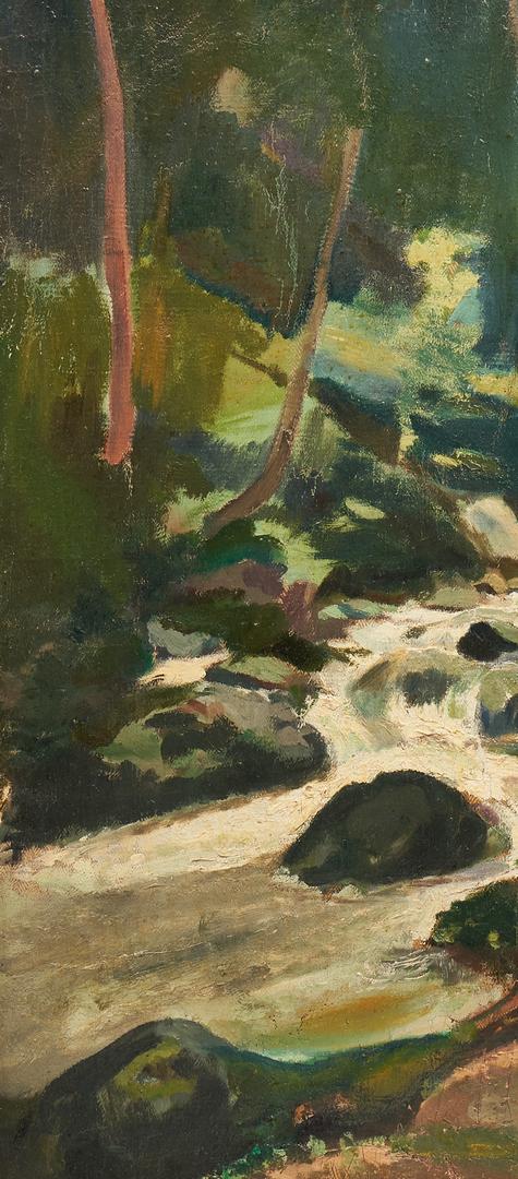 Lot 1142: Frank Barney O/C Painting, Waterfall Scene