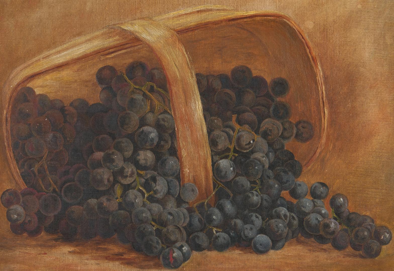 Lot 1143: American School O/C Still Life, Basket of Grapes
