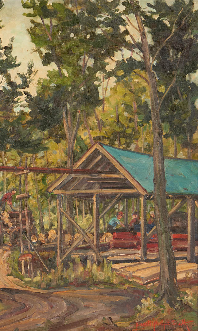 Lot 1145: Bissell Smith O/B Painting, Logging Scene