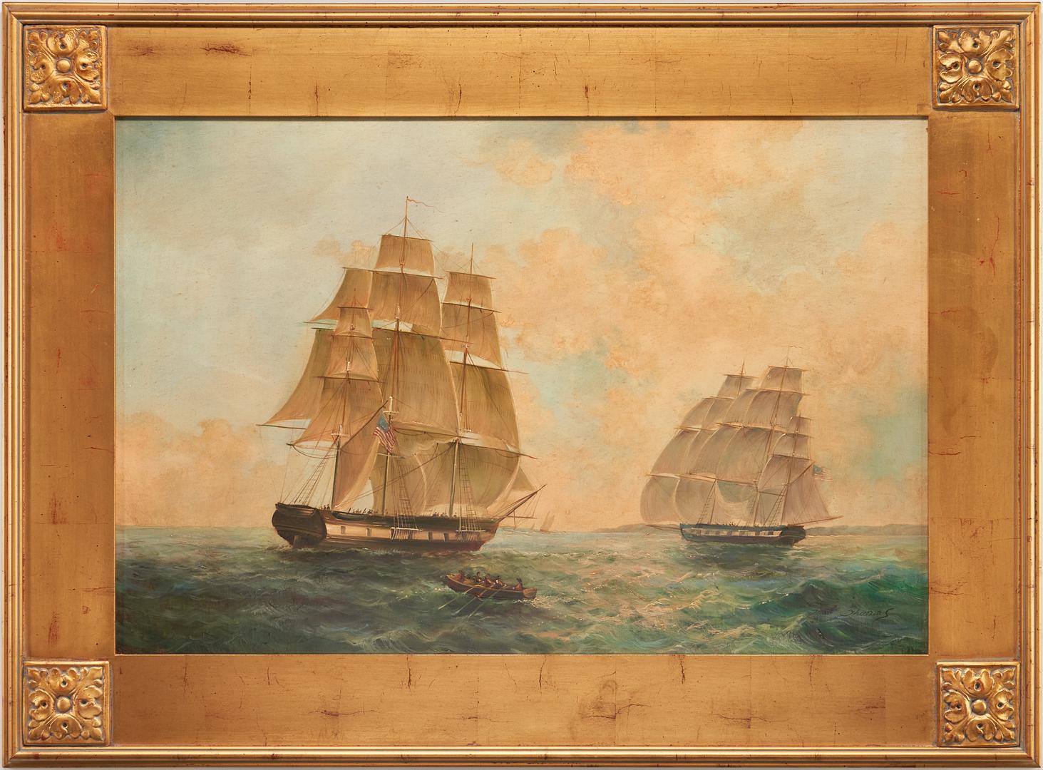 Lot 1146: Matt Thomas O/C Marine Painting, 2 American Colonial Ships