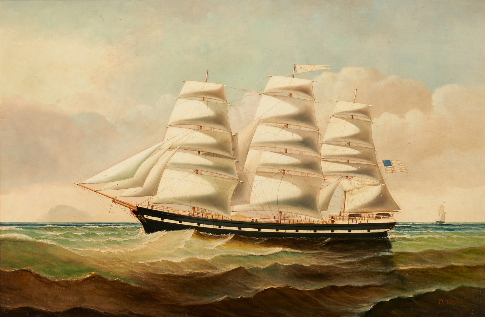 Lot 1147: D. Tayler O/C Marine Painting, Clipper Ship