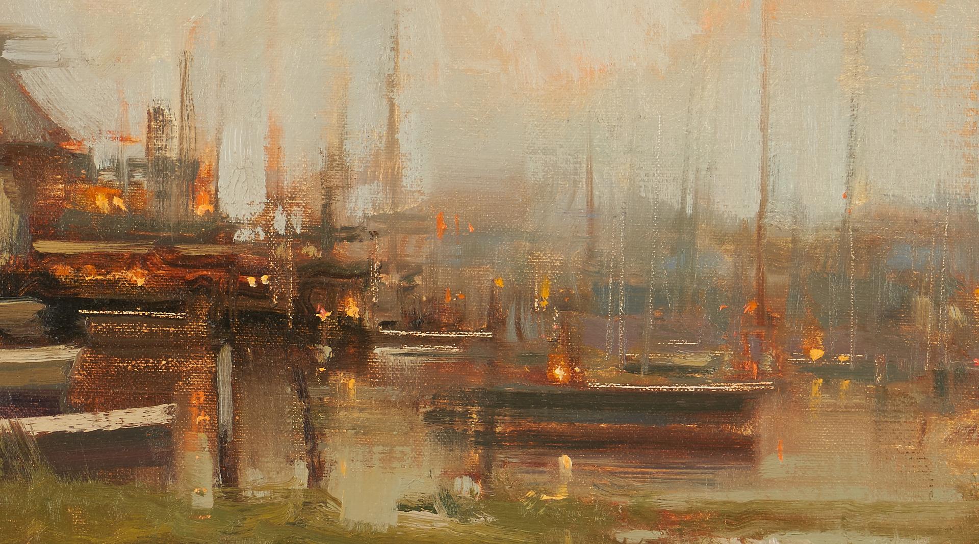 Lot 1148: Michael Lynch O/B Painting, Nantucket Harbor Scene