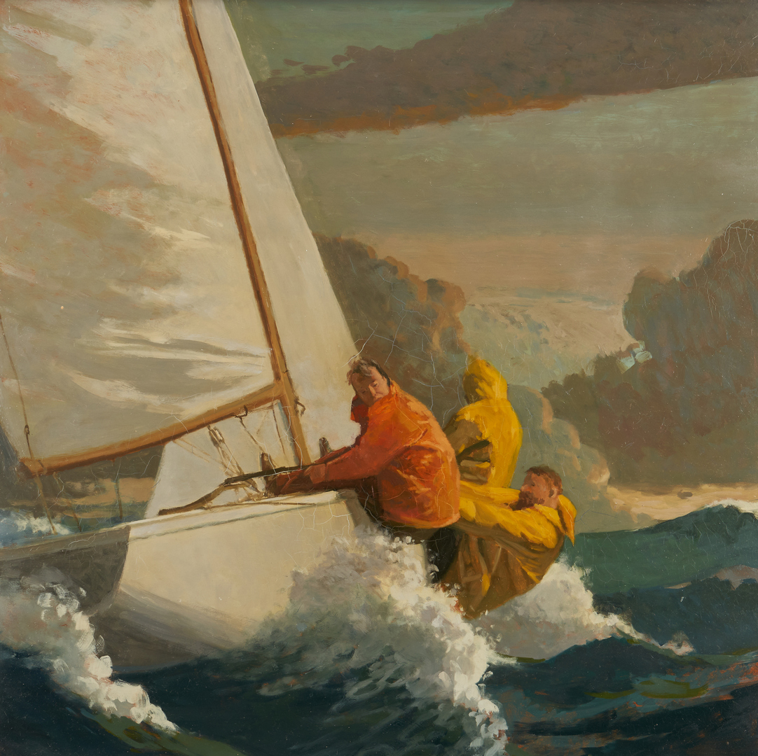 Lot 1149: Geoffrey Lewis O/B Marine Painting, Sailboat in a Storm