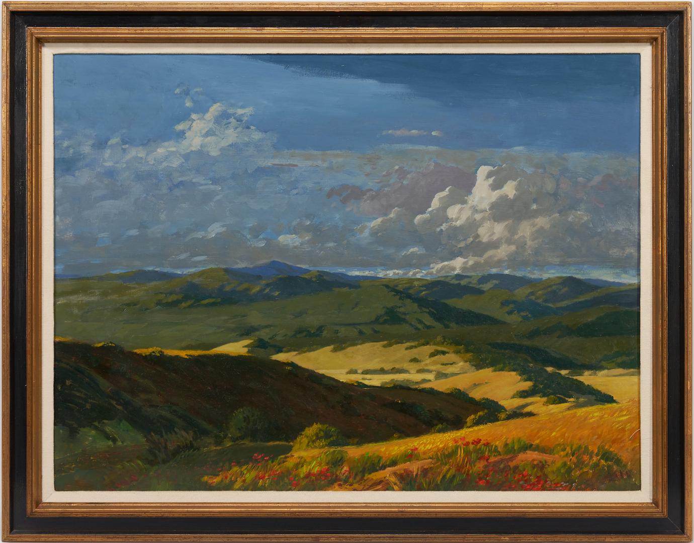Lot 1150: Geoffrey Lewis O/B Painting, Mountain Landscape