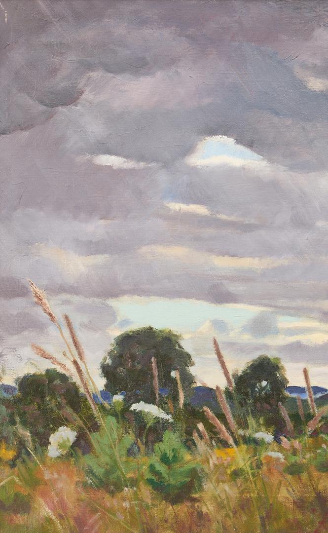 Lot 1151: Gene Klebe O/C Landscape, Field Beneath a Stormy Sky