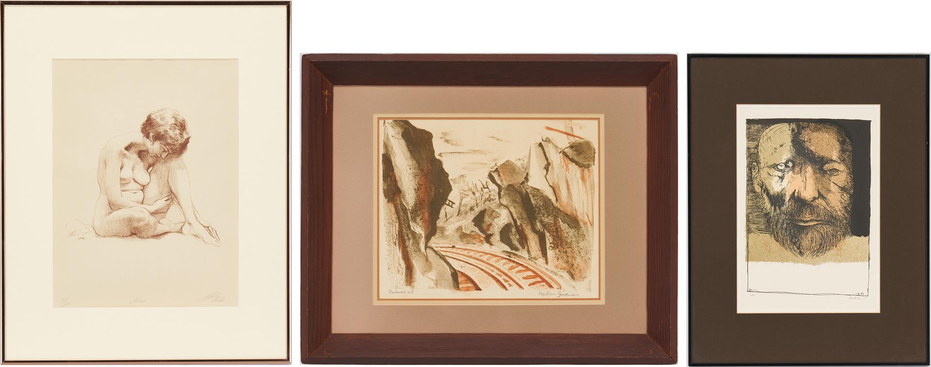 Lot 1153: 3 American Works on Paper, incl. Bertram Goodman, Leonard Baskin