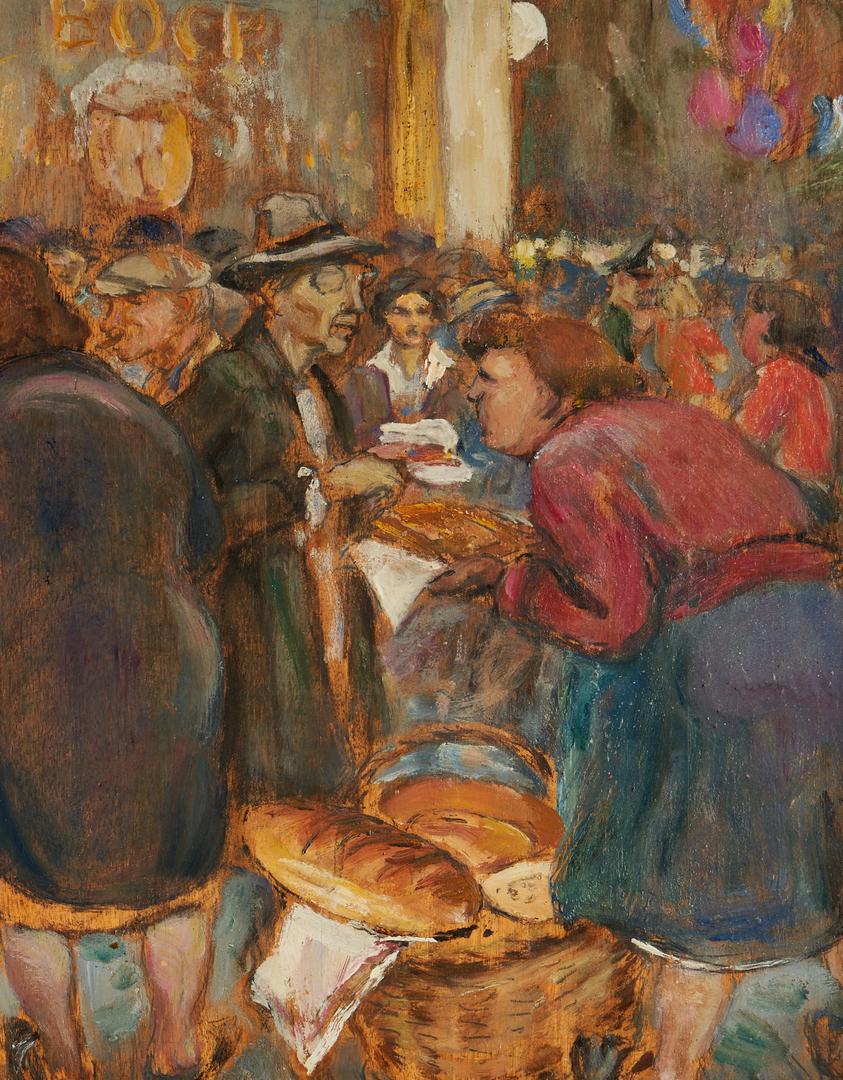 Lot 1154: Emile Thysebaert O/B Painting, Market Scene