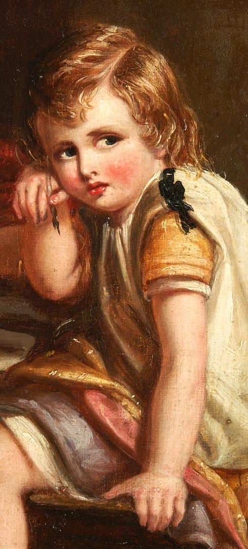 Lot 1158: English School O/B Painting, Children Writing w/ Books