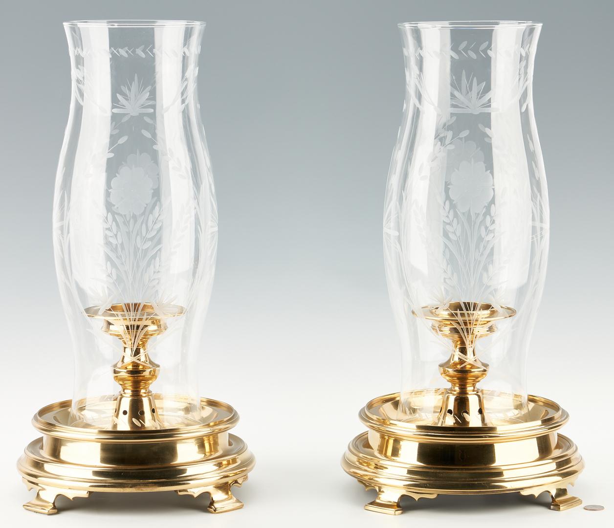Lot 1165: Pr. Brass Candlesticks w/ Hurricane Shades & Wrought Iron Floor Candle Lamp, 3 items