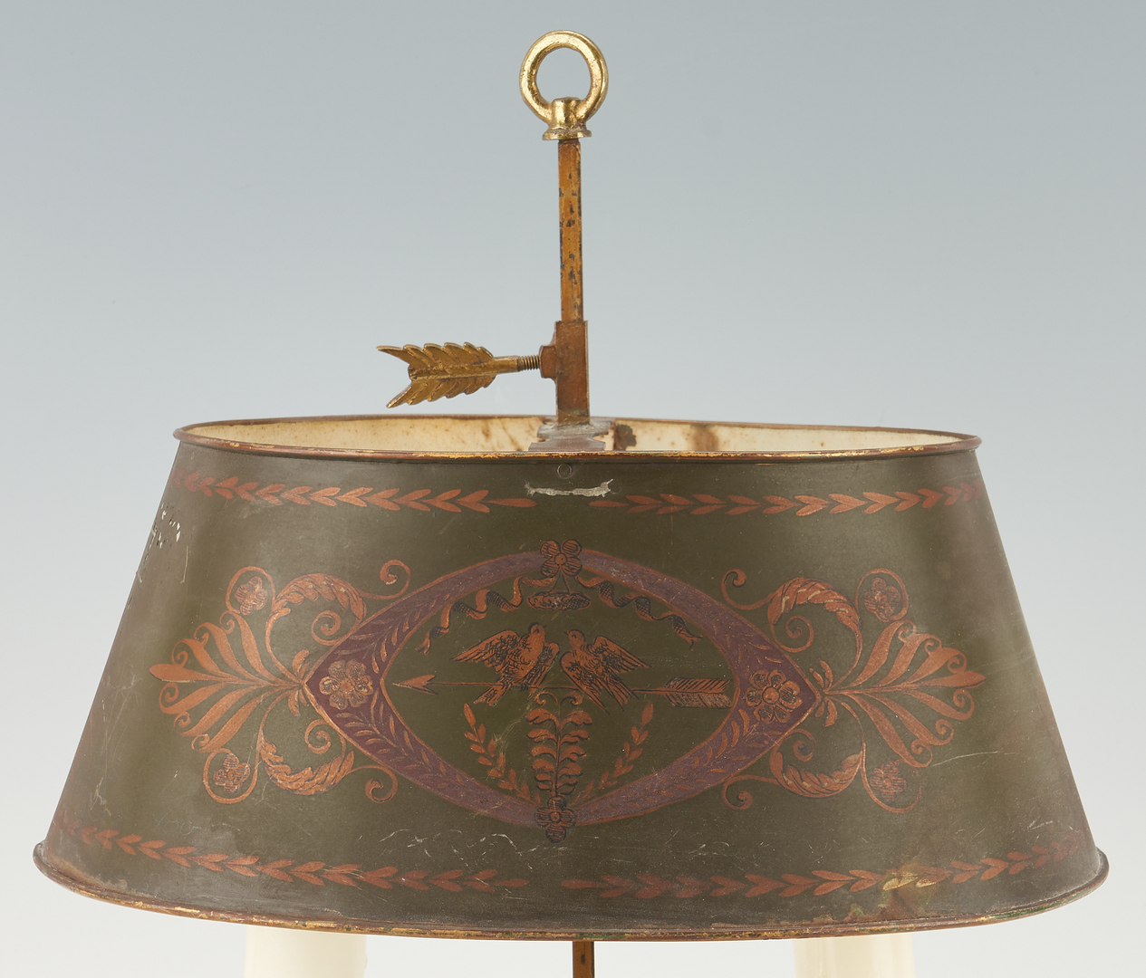 Lot 1166: French Empire Green Tole Bouillotte Table Lamp