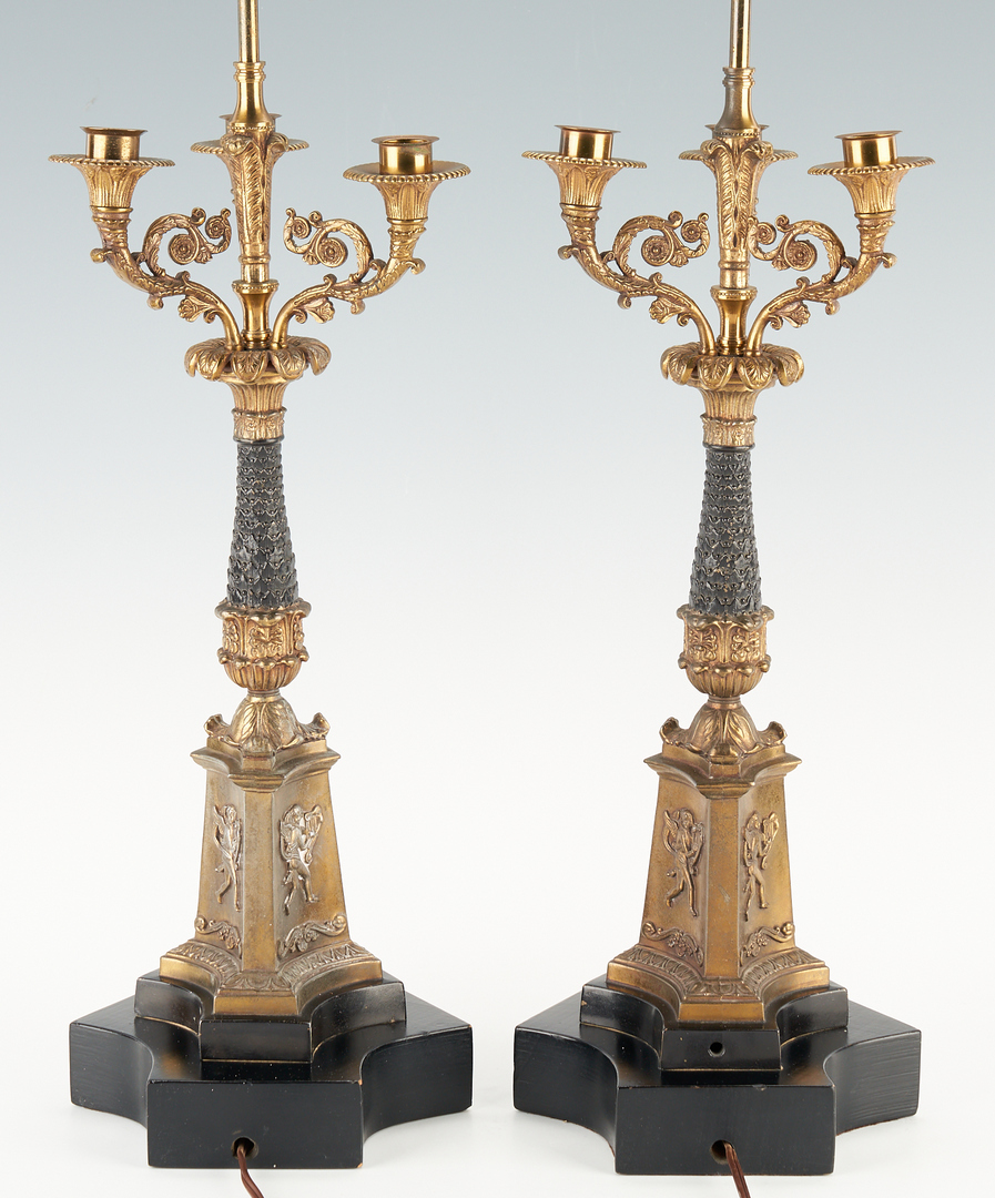 Lot 1167: Pair Neoclassical Style Bronze Candelabra Lamps