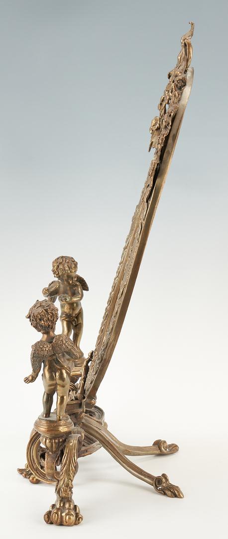 Lot 1168: Louis XV Style Bronze Tabletop Vanity Mirror w/ Figural Cupids