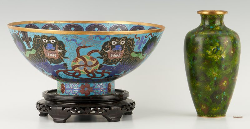 Lot 1170: Chinese Cloisonne Punch Bowl & Vase, 2 items