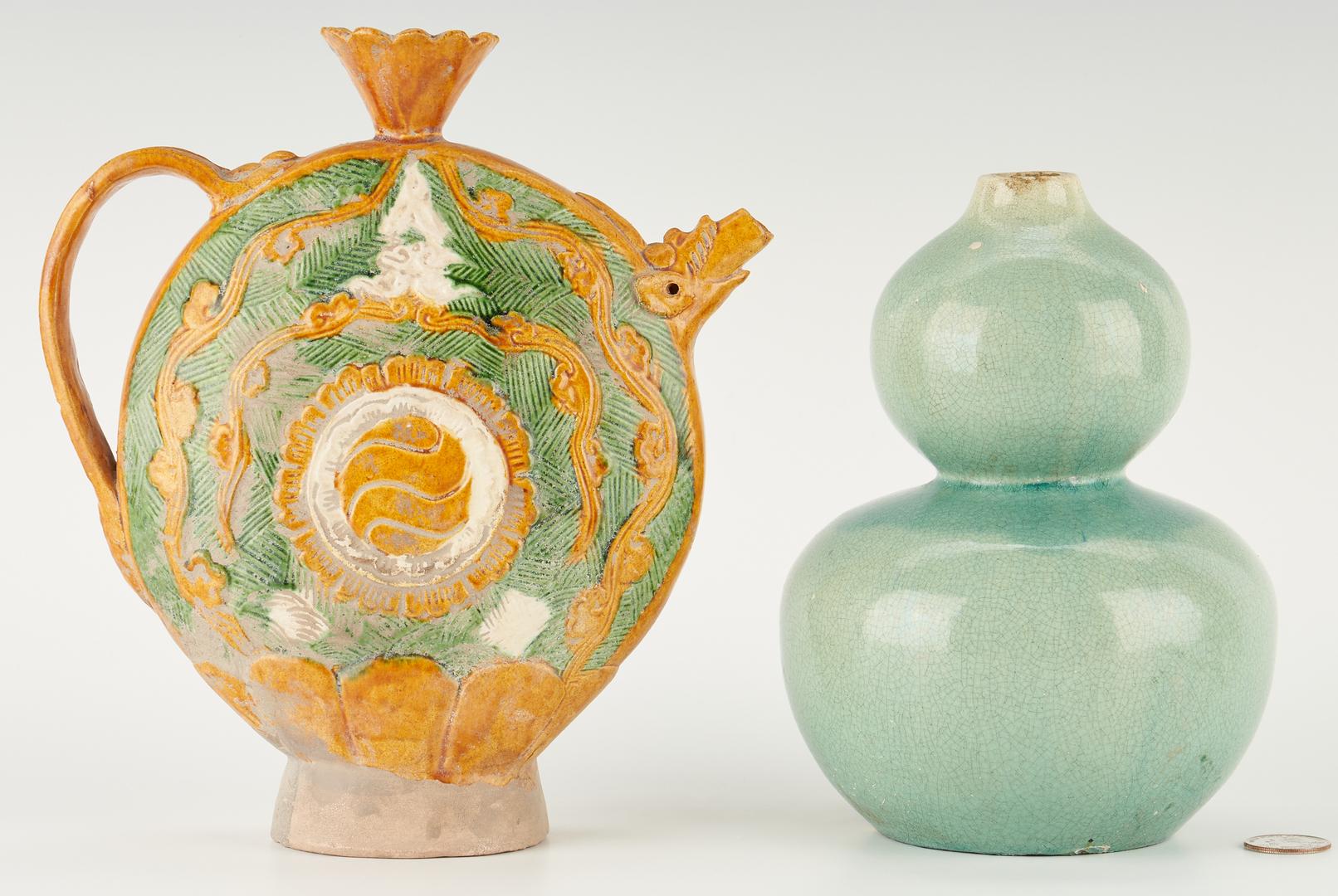 Lot 1174: Chinese Sancai Glaze Ewer & Double Gourd Celadon Vase