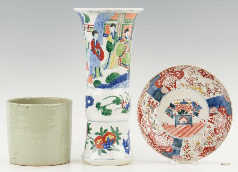 Lot 1175: 3 Pieces of Chinese Porcelain: Vase, Celadon Pot, & Imari Dish