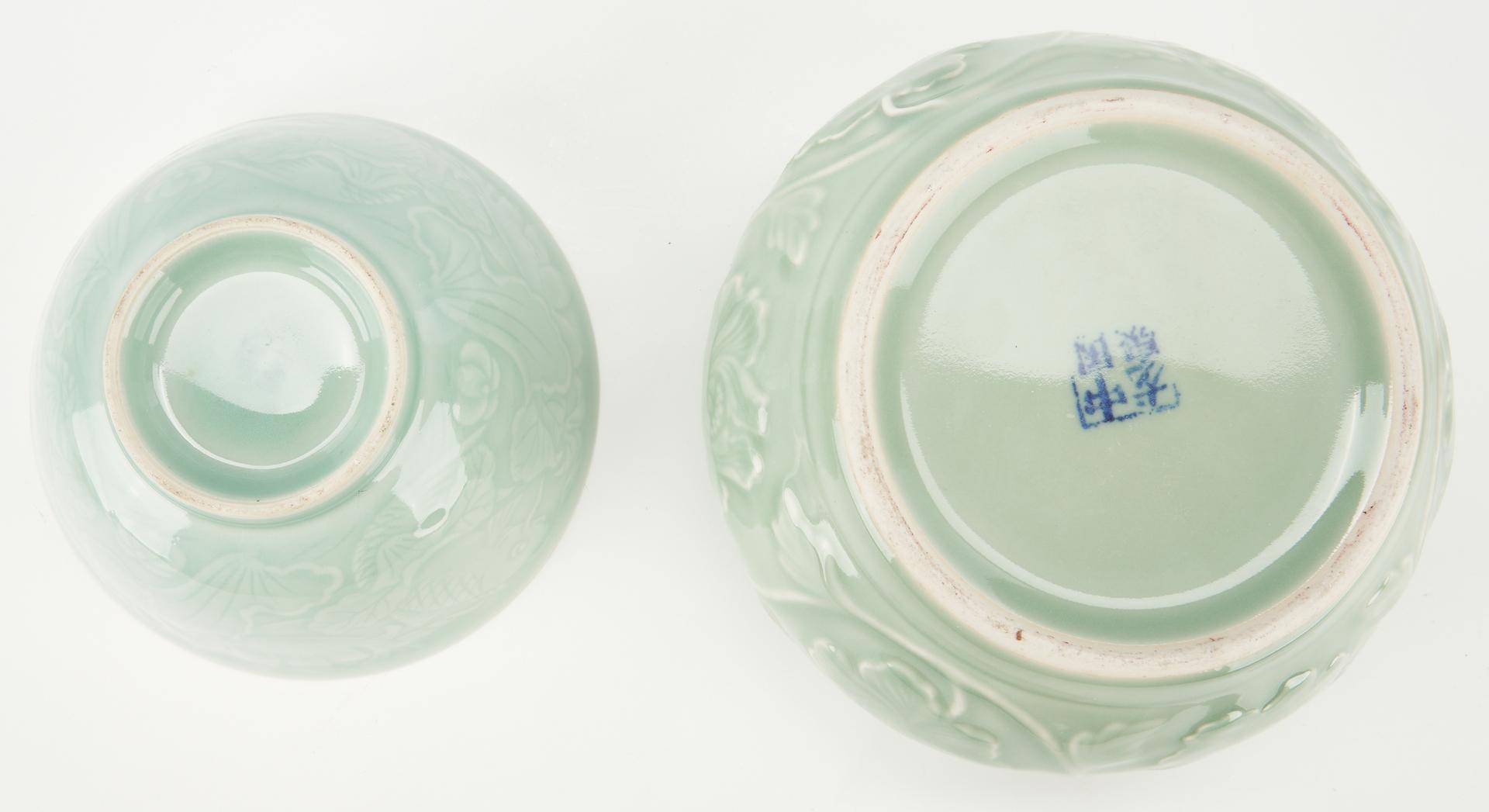 Lot 1179: 4 Asian Porcelain Items, incl. Celadon Glaze