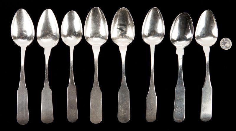 Lot 117: 8 Asa Blanchard Ky Coin Silver Tablespoons