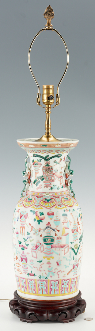 Lot 1180: Chinese Famille Rose Lamp, Foo Lion Handles