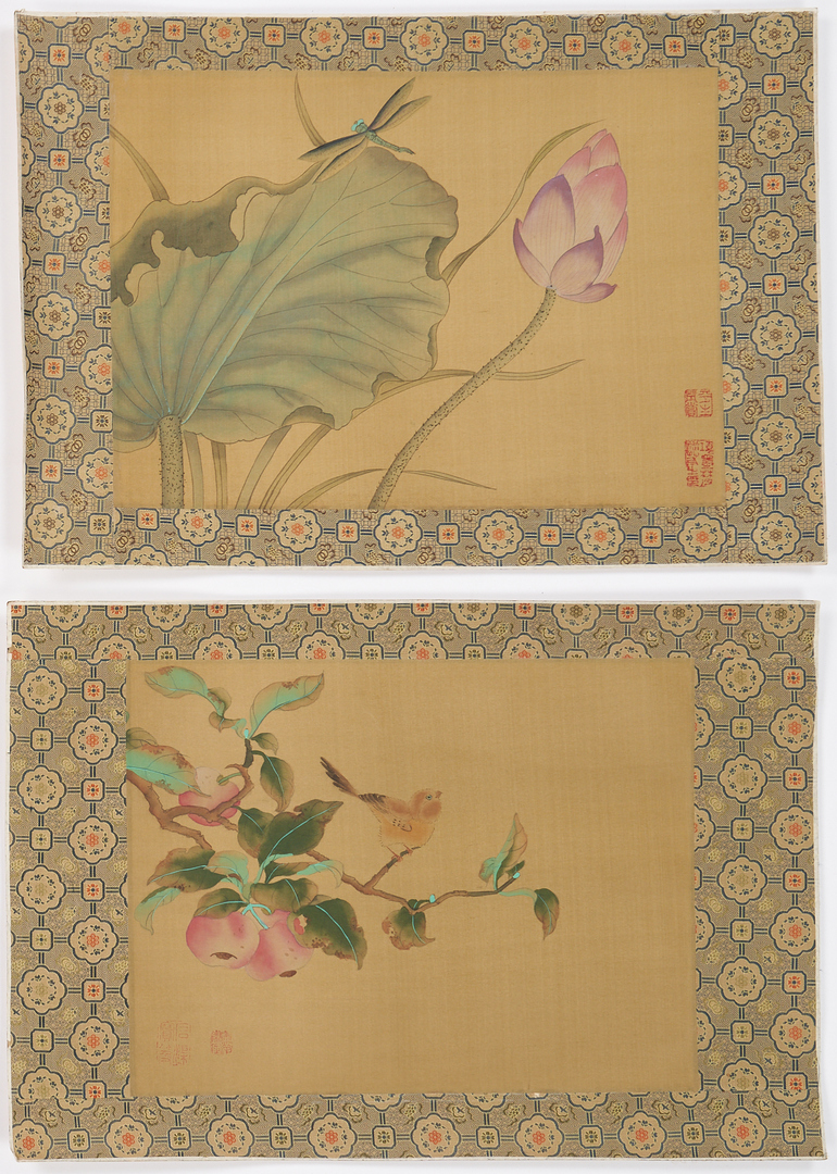 Lot 1185: 4 Chinese Paintings on Silk, incl. Horses
