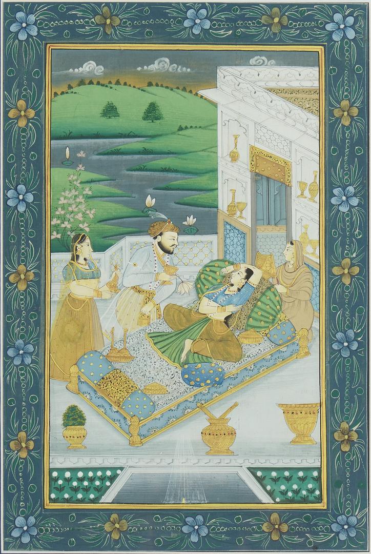 Lot 1186: 3 Japanese Woodblocks plus 3 Persian, Indian Paintings, 6 items