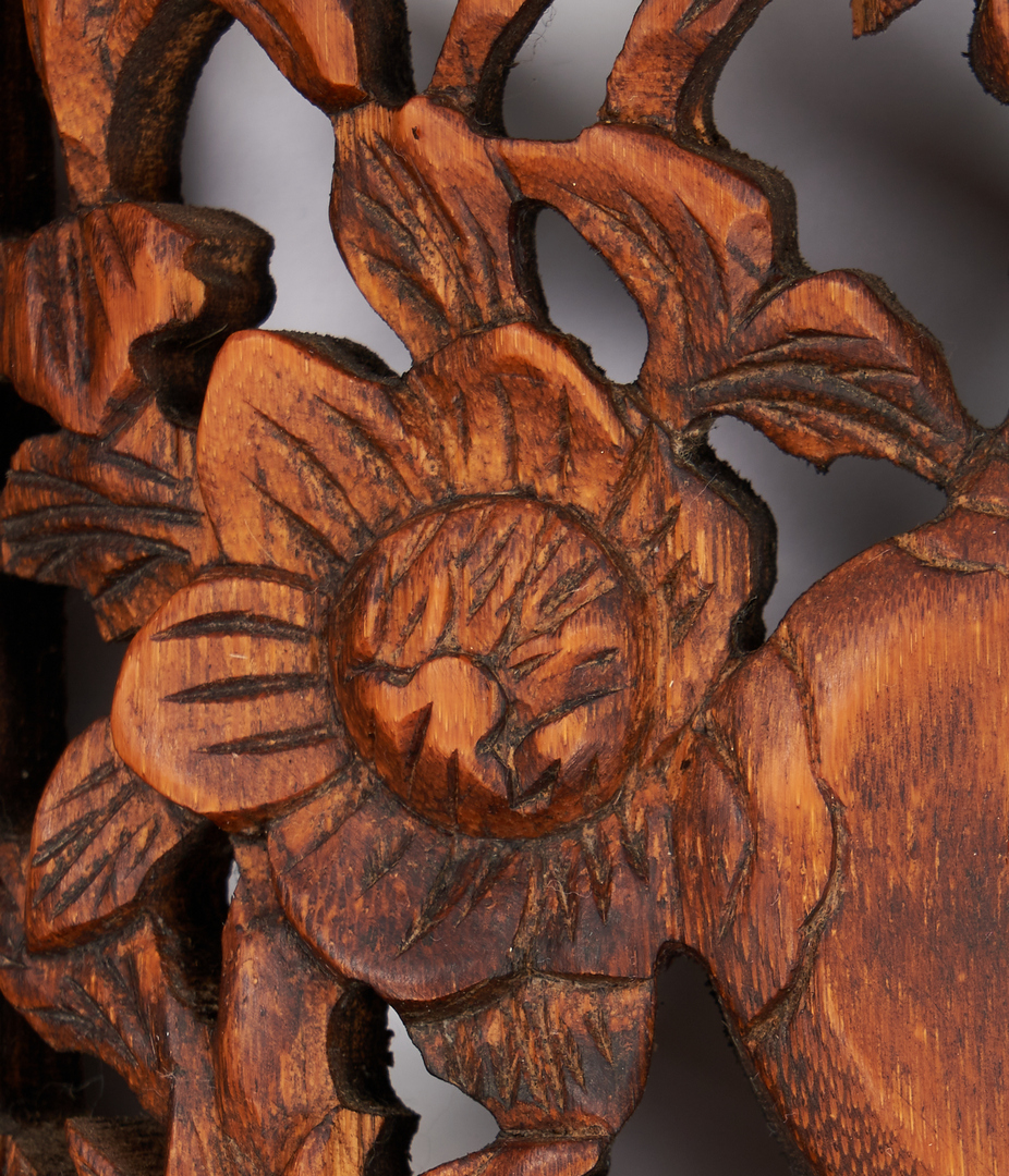 Lot 1187: Japanese Four Seasons Wall Carvings, Sakura Ranma, 5 items