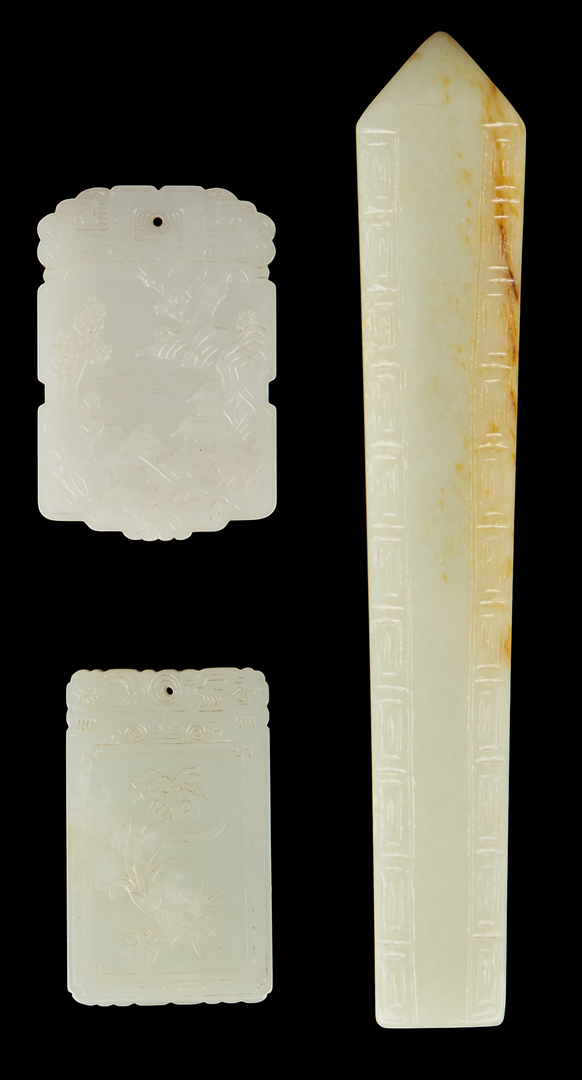 Lot 1190: 7 Pcs. Chinese Carved Jade, incl. Plaques & Archer's Rings