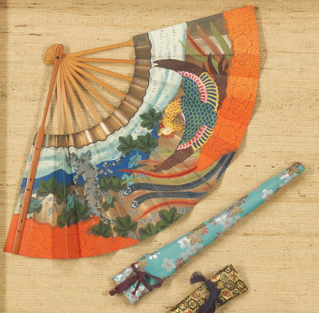 Lot 1191: 3 Decorative Items, incl. Bronze Vases, Asian Silk Fans