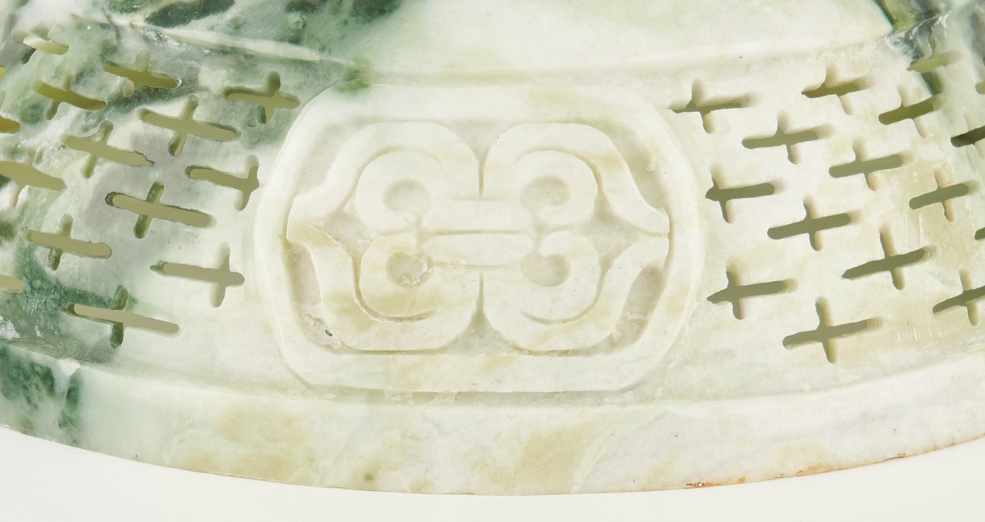 Lot 1192: Large Chinese Green Hardstone Lidded Censer