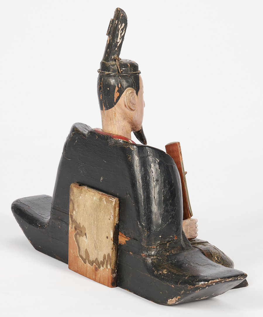 Lot 1193: Large Carved and Painted Asian Scholar Figure on Stand