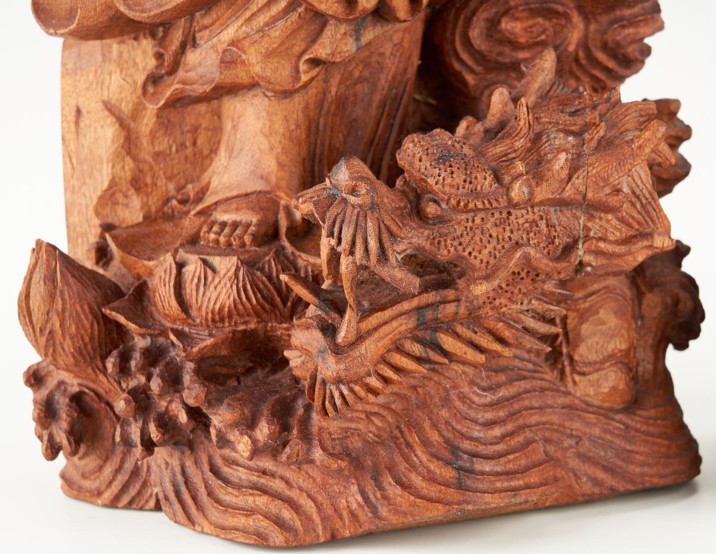 Lot 1194: 2 Asian Carved Wood Figures, Guanyin & Buddha