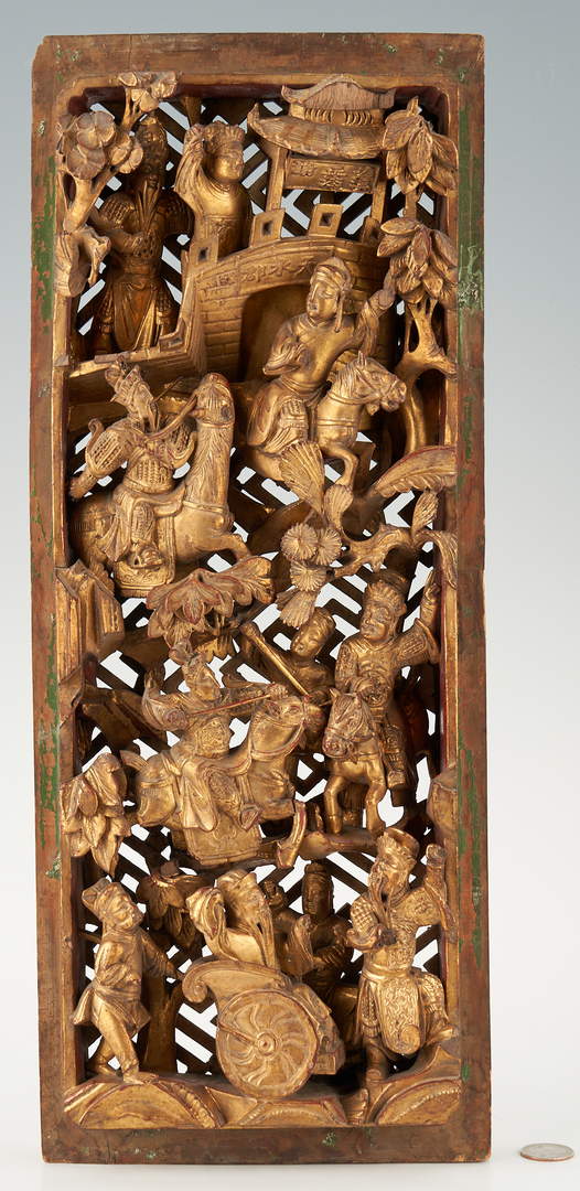 Lot 1198: Chinese Gilt Carved Wood Panel