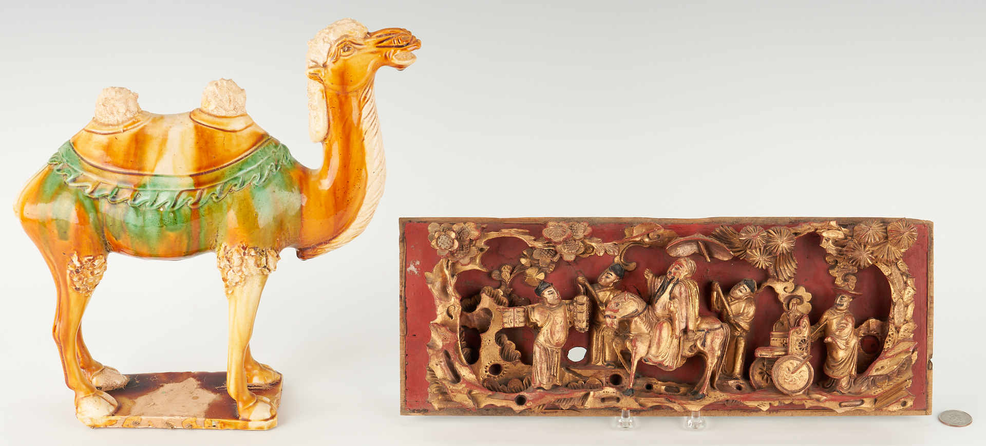 Lot 1199: Chinese Sancai Camel & Carved Giltwood Panel, 2 items