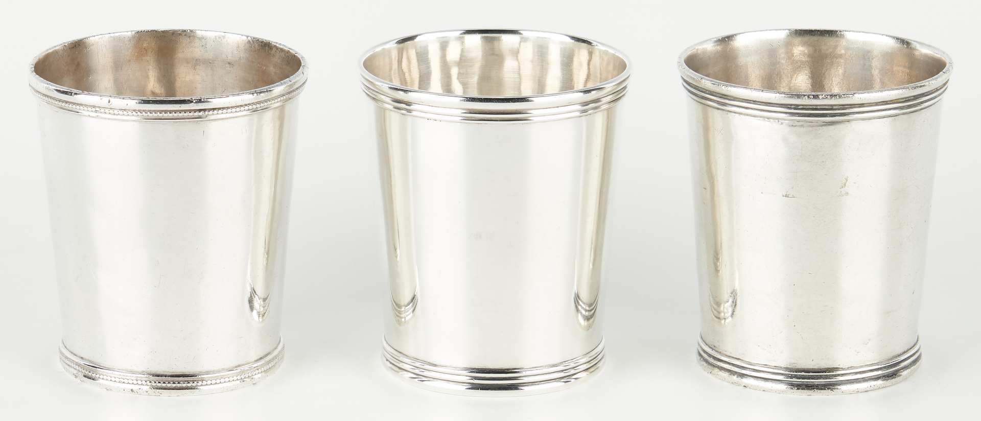 Lot 119: 3 McDannold Winchester KY Coin Silver Julep Cups