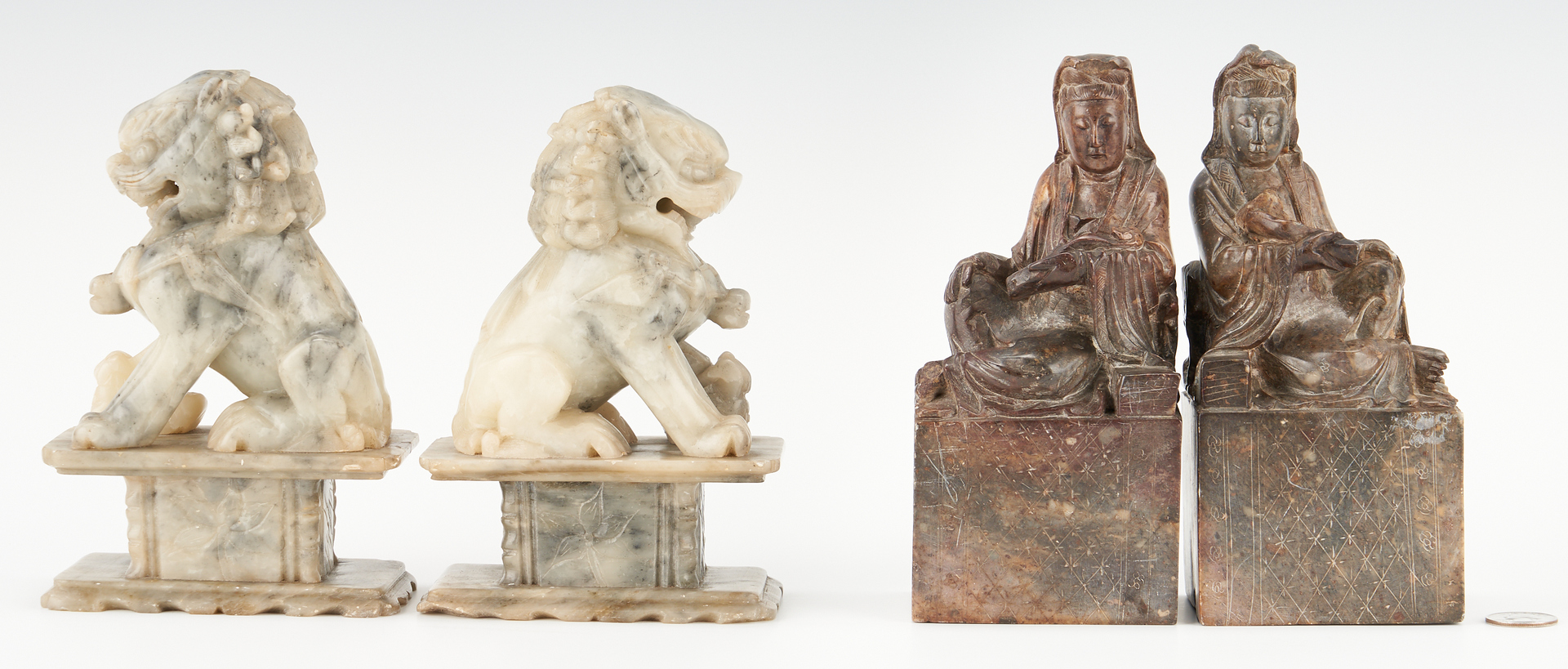 Lot 1200: 2 Prs. Chinese Hardstone Bookends, Quan Yin &  Temple Lions