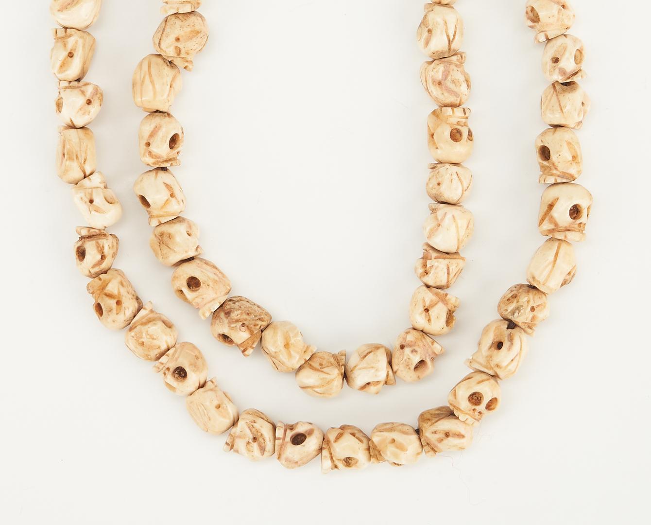 Lot 1203: Burmese Naga Conch Fossil Necklace & Asian Prayer Bead Necklace