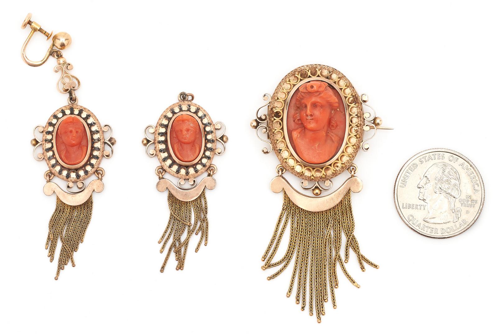 Lot 1206: Wilson McGrew Coral Cameo Earrings & Brooch