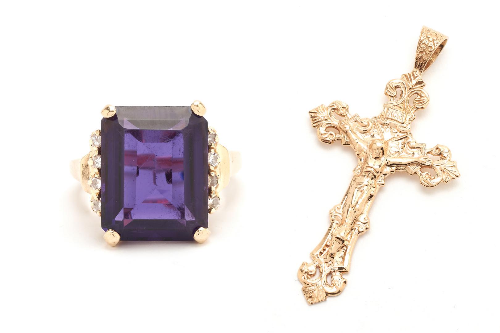 Lot 1209: Ladies 14K and 8 Carat Amethyst Ring & 14K Crucifix