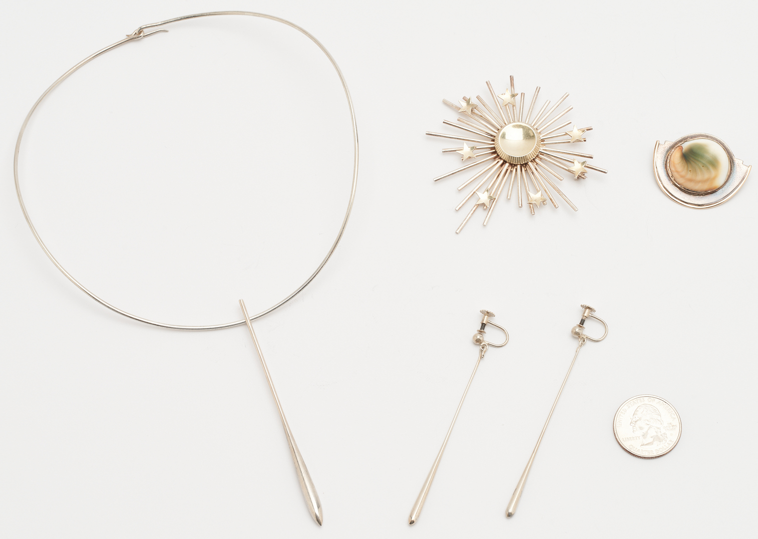 Lot 1210: 4 Designer Sterling Silver Jewelry Items, incl. Danish