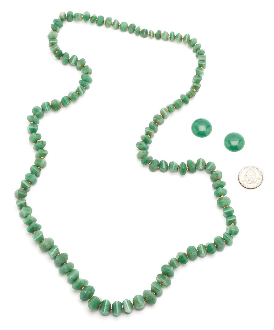 Lot 1212: Jade Necklace w/ Gold Spacers & 14K Gold Bracelet, 2 Items