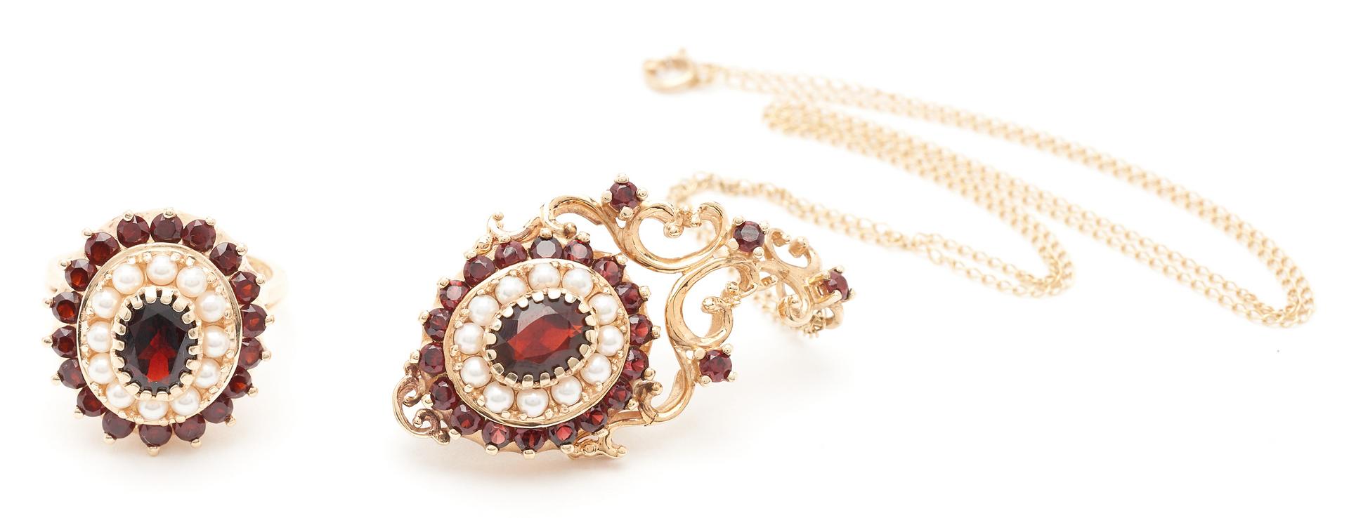 Lot 1215: Ladies 10K Gold, Garnet & Gold Pendant & Ring, 2 items