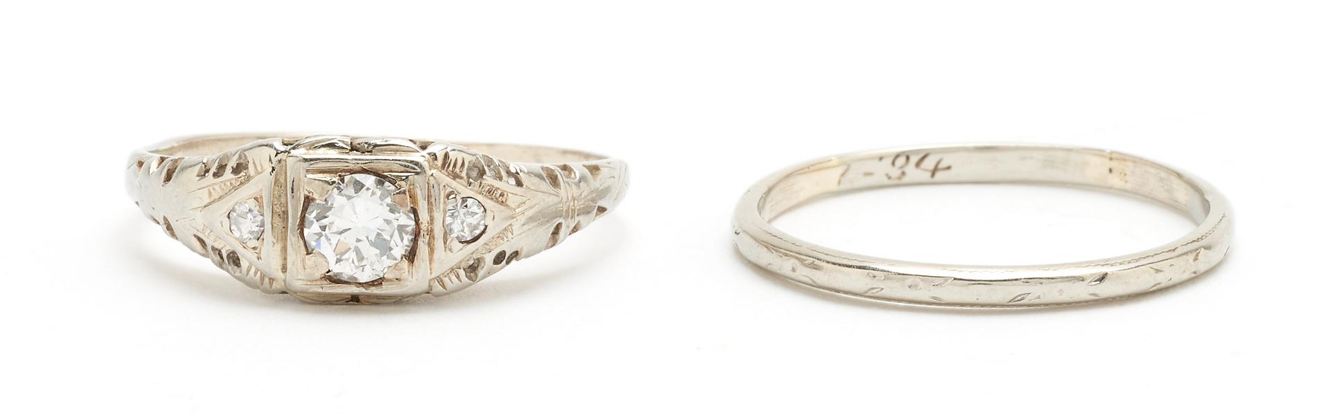 Lot 1216: Ladies 14K Engagement Ring & 18K Wedding Band
